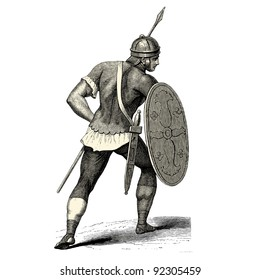 "Roman soldier - vintage engraved illustration - ""Costumes anciens et modernes "" by Cesare Veccello ed.Firmin-Didot  in 1859 - Paris"