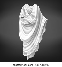 Roman toga isolated on black background. Ancient Rome male citizens outerwear made of white piece of fabric draped around body, folded gown, historical costume. Realistic 3d vector illustration.
