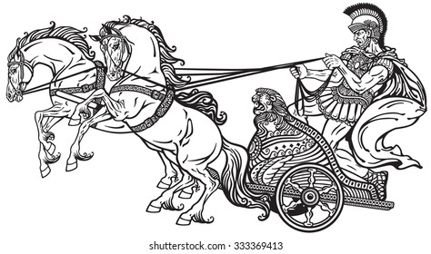 roman warrior in a chariot pulled by two horses .Black and white illustration
