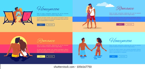 Romance honeymoon photos of happy couples on vacation at seaside that kiss on sunset, hug on beach and hold each others hands in ocean vector illustration