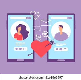 Romance online dating. Loving couple on screens of mobile phones. Dating applications vector concept. Illustration of dating online, couple love in social network