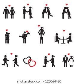 Romance relationship valentine concept pictogram