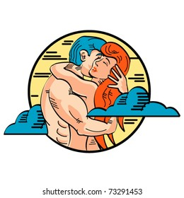 Romance or romantic embrace between Adam and Eve showing love in a pop art or cartoon style.