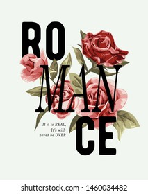 romance slogan with red rose illustration