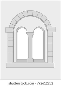 Romanesque window - vector graphic