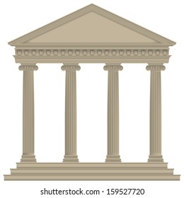 Roman/Greek Temple with ionic columns, high detailed