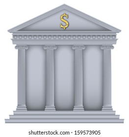 Roman/Greek Temple with ionic columns, money symbol , high detailed with outline