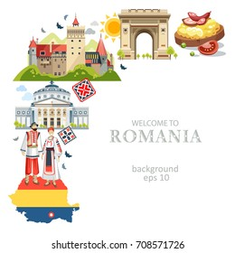 Romania background with traditional symbols of country architecture food map costumes