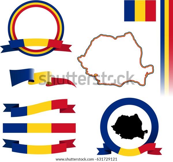 Romania Banner Set Vector Graphic Flags Stock Vector