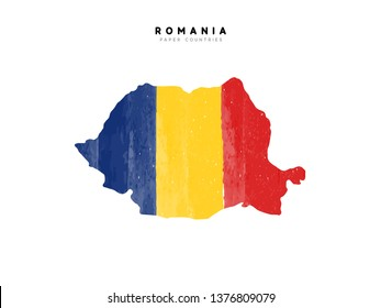 Romania detailed map with flag of country. Painted in watercolor paint colors in the national flag.