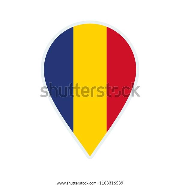 Romania flag icon. Travel icon. Travel destination of Romania. Romania badge. Flag badge.