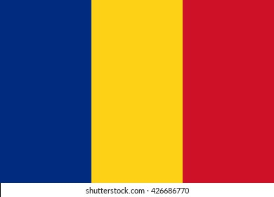 Romania flag, official colors and proportion correctly. National Romania flag. Vector illustration. EPS10.