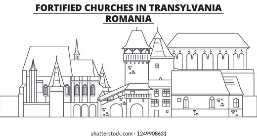 Romania - Fortified Churches In Transylvania travel famous landmark skyline, panorama, vector. Romania - Fortified Churches In Transylvania linear illustration