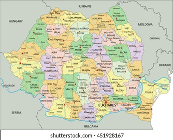 Romania - Highly detailed editable political map with labeling.