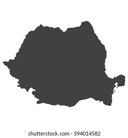 Romania map in black on a white background. Vector illustration
