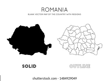 Romania map. Blank vector map of the Country with regions. Borders of Romania for your infographic. Vector illustration.