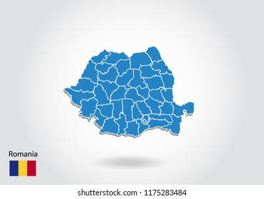 Romania map design with 3D style. Blue Romania map and National flag. Simple vector map with contour, shape, outline, on white.