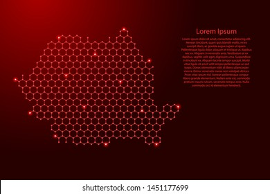 Romania map from futuristic hexagonal shapes, lines, points red and glowing stars in nodes, form of honeycomb or molecular structure for banner, poster, greeting card. Vector illustration.