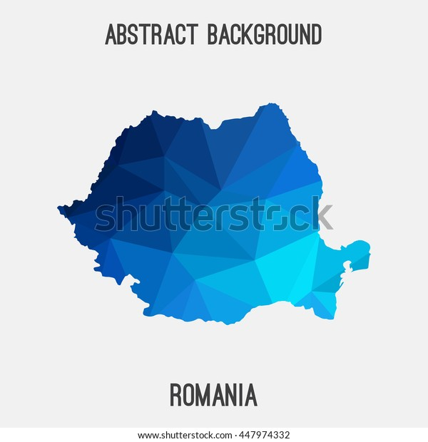Romania map in geometric polygonal,mosaic style.Abstract tessellation,modern design background. Vector illustration EPS8