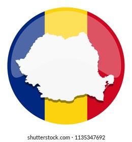 Romania Map Silhouette Flag Button Round Vector Art Design Patriotic Symbol