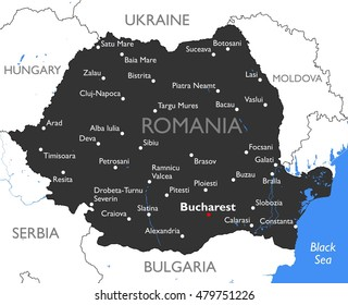 romania map vector detailed color romania map - Detailed Pictures To Color