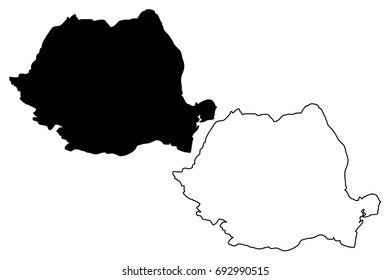 Romania map vector illustration, scribble sketch Rumania