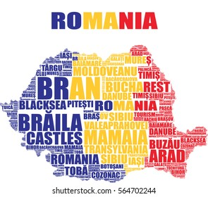 Romania map vector tag cloud illustration with national colors blue, yellow and red