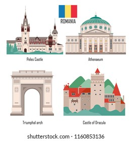 Romania set of landmark icons in flat style: Peles Castle, Athenaeum, Triumphal arch and Castle of Dracula. Historic architecture. Travel sightseeing collection. Vector illustration