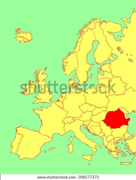 Romania Vector Map Europe Vector Map Stock Vector (Royalty ...