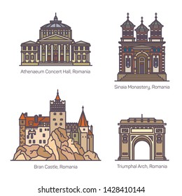 Romanian architecture or Romania famous landmarks or building. Athenaeum concert hall, Sinaia monastery, Bran castle, triumphal arc or arch, Arcul de Triumph at Bucharest. Tourism and monument theme