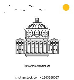 ROMANIAN ATHENAEUM Monument. World Travel Natural illustration Background in Line Style