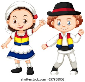 Romanian children in traditional outfit illustration