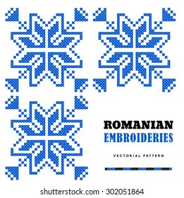 Romanian embroideries - vector pattern - blue snowflakes