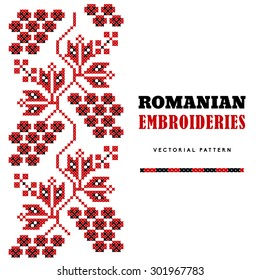 Romanian embroideries - vector pattern - leaves and grapes