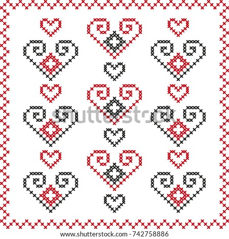 Romanian Embroidery Dragobete Valentines Day Stock Vector Royalty