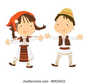 Romanian kids in traditional clothes