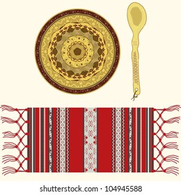 Romanian traditional and folkloric ornamented ceramic plate, wooden spoon and textile serviette