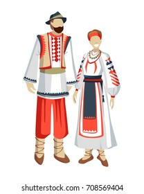 Romanian traditional national costume man and woman