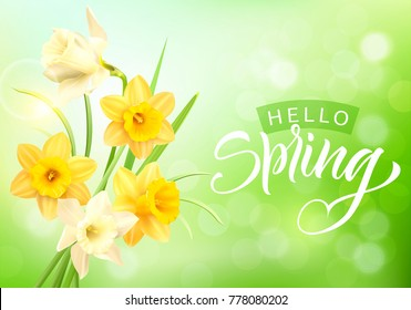 Romantic background with daffodils bouquet and spring greeting. Vector illustration.