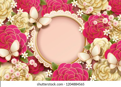 Romantic background design with gorgeous peony and butterflies in paper art style, copy space for design
