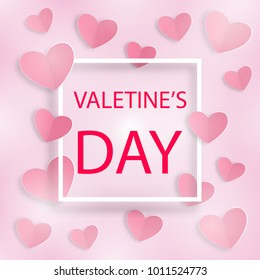 Romantic background Happy Valentine's Day with frame and white and red hearts on pink. For holiday decoration