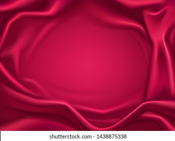 Romantic background of luxury, red satin, wavy crimson, silk fabric, delicate textile with folds and creases 3d realistic vector illustration with copy space. Elegant frame of luxurious, glossy tissue