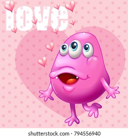 Romantic background with pink monster and word love illustration