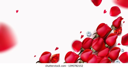 Romantic background with red roses and flying petals