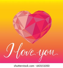 Romantic background. Sing I love you and heart at colorful gradient. Vector illustration