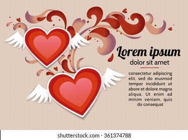 Romantic background with two red winged paper hearts. Vector template for a card, a flyer, an invitation and a banner on a buff (beige) background.