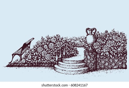 Romantic beautiful classic outdoor elegant cozy rest place with old urn on luxury patio with space for text on sky. Freehand ink hand drawn picture background sketch in art doodle style pen on paper