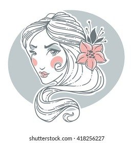 romantic beauty woman portrait, hand drawn doodle image