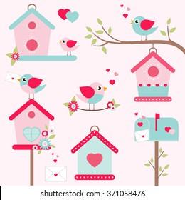 romantic bird houses set