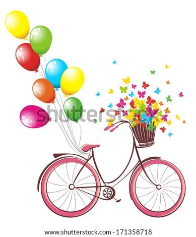 Romantic Birthday Card Bicycle Balloons Basket Stock Vector Royalty